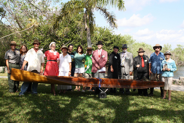 Vintage Event Day, NPSPhoto.  Cast from Left to Right: Julie Abreu, Ivy Kelley, Tom Marquardt (Gladesman), Christiana Admiral (Ligger's wife), Laura Marquardt (May Mann Jennings), Jacqueline Ayala, Elsa Alvear, Cesar Becerra, David Webb (Land Developer), Karen Girard (Al capone's gal), Frankie Arranzamendi (Al Capone), Matt Garrison (Al's right hand man), Eric Raitts (Gladesman), Barbara Hedges (Marjory Stoneman Douglas). NPS Photo